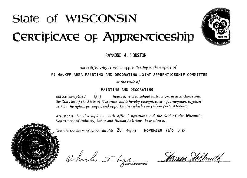 certificate of apprenticeship